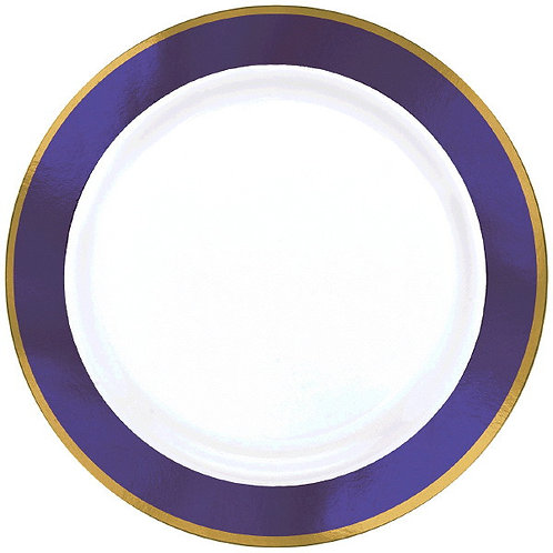 Purple Border Premium 10in Plastic Plates 10ct