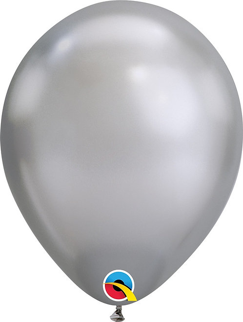 Inflated Chrome Silver Latex Balloon