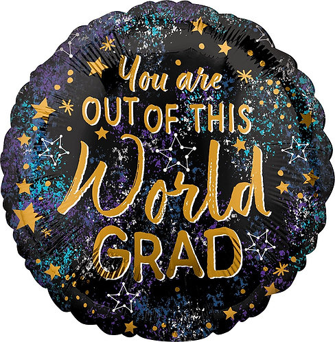 #G6 Out Of This World Grad 17in Mylar Balloon