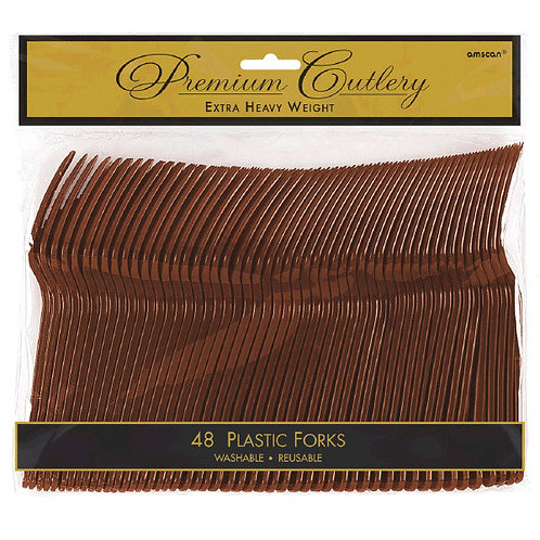 Brown Plastic Forks 48ct
