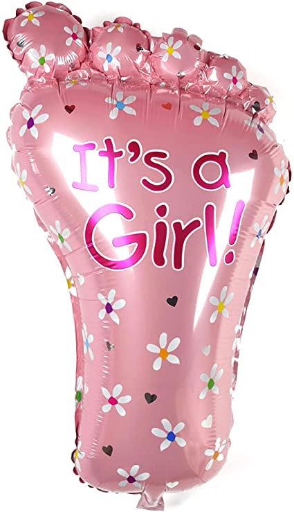 #179 It's a Girl Foot 32in Mylar Balloon