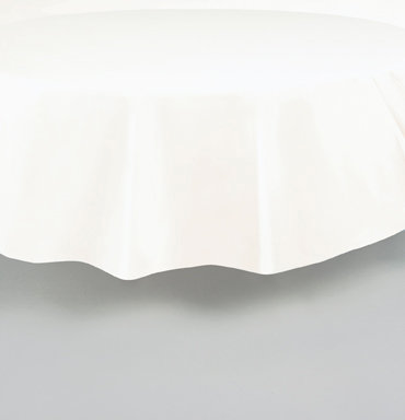 """White Round Plastic Table Cover 84"""""""