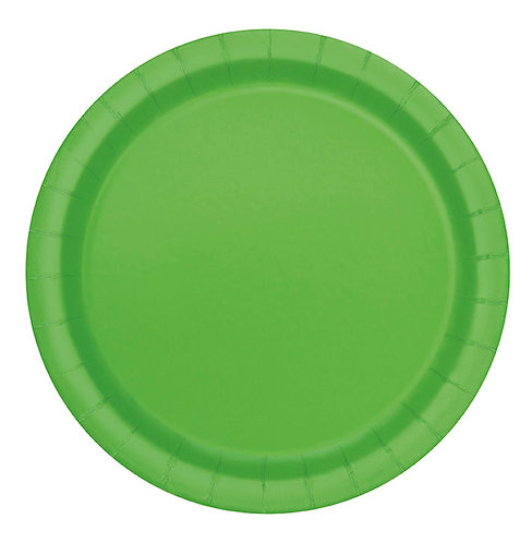 """Lime Green Round 9"""" Dinner Plates 16ct"""