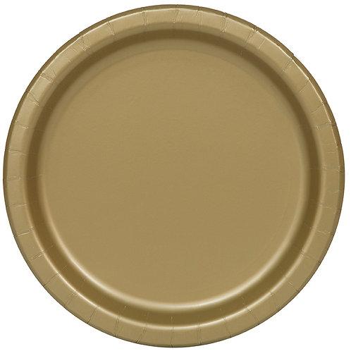 """Gold Round 7"""" Dessert Plates 20ct"""