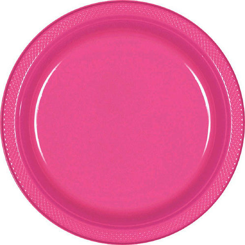 Bright Pink 7in Plastic Plates 20ct