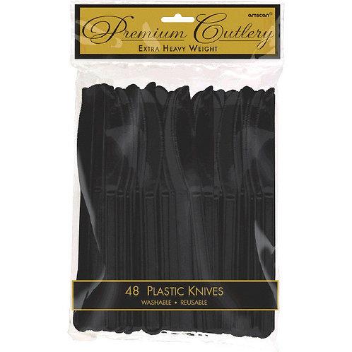Black Plastic Knives 48ct
