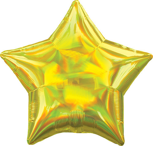 #676 Inflated Iridescent Yellow Star 18in Mylar Balloon