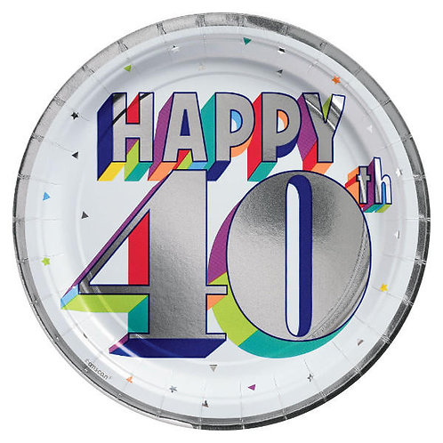 Here's To 40 Metallic Round Lunch Plates 8ct