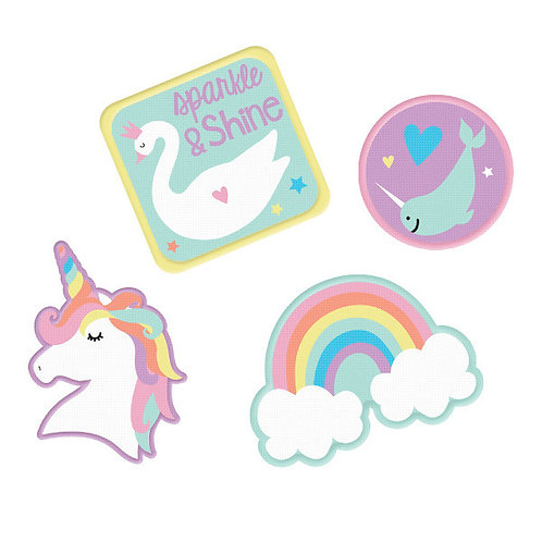 Magical Rainbow Birthday Embroidered Patches 4ct