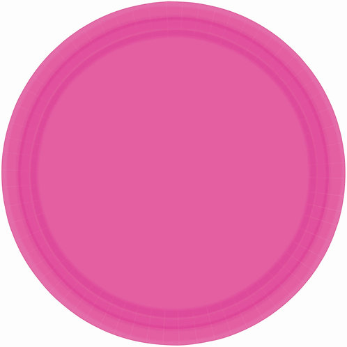 Bright Pink 9in Paper Plates 20ct
