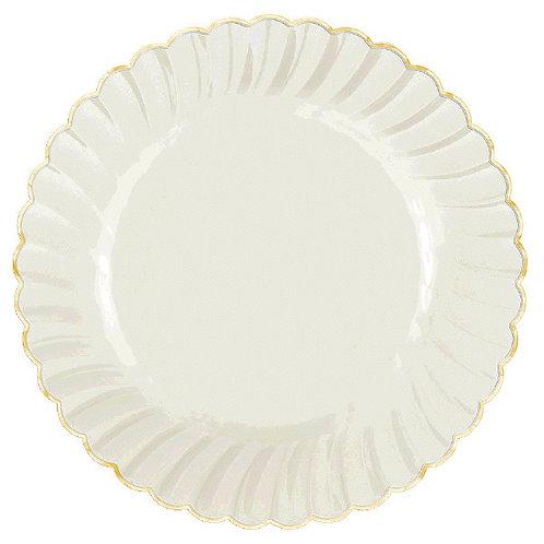 "Scalloped w/Gold Swirl, Premium Plastic Plates, 7 1/2"" - 20ct"