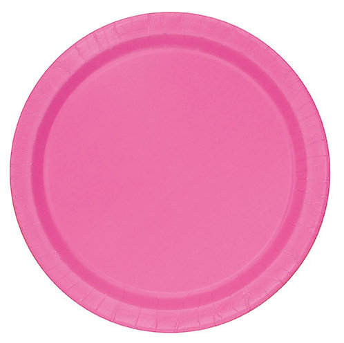 """Hot Pink Round 7"""" Dessert Plates 20ct"""