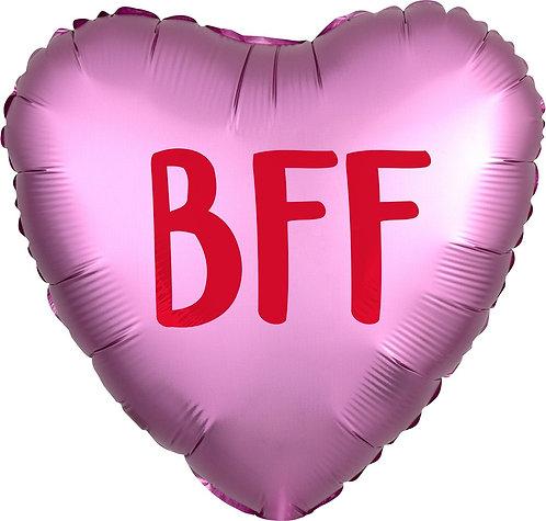 #506 Satin Heart BFF 18in Mylar Balloon