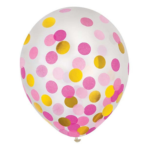 Pink & Gold Confetti 12in Latex Balloons 6ct
