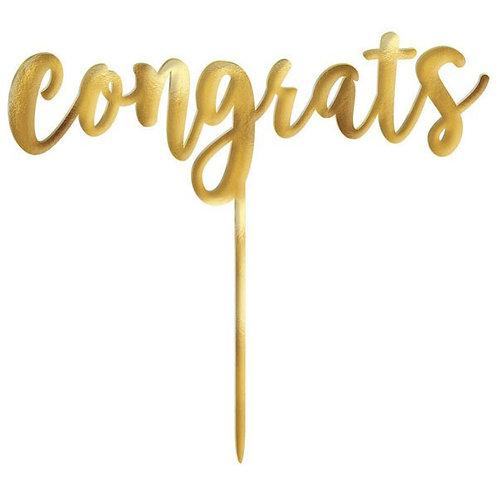 Gold Congrats Mirror Cake Topper