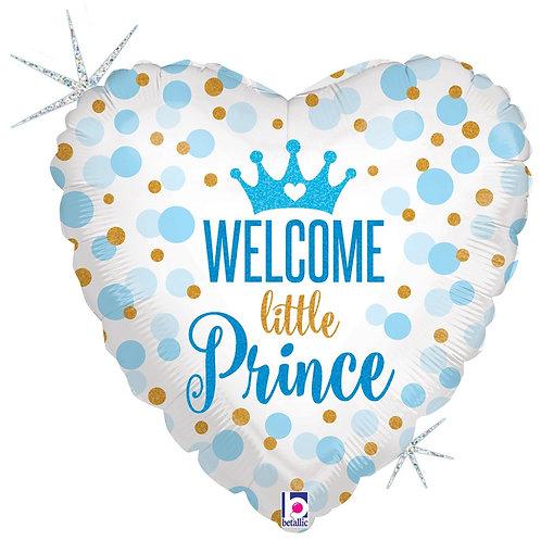 #595 Glitter Baby Prince 18in Mylar Balloon