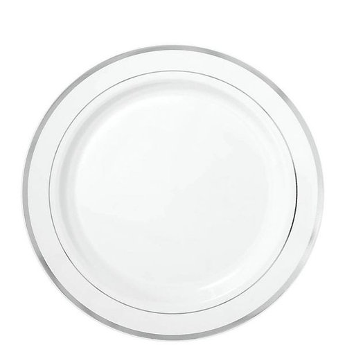 Premium Plastic White 7.5in Plates with Silver Border 20ct