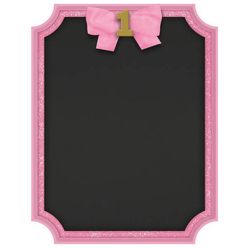 1st Birthday Pink Easel Glitter Sign
