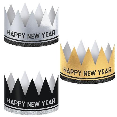 New Year's Crowns - Black, Silver, Gold 12ct