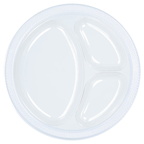 Clear 10in Divided Plastic Plates 20ct