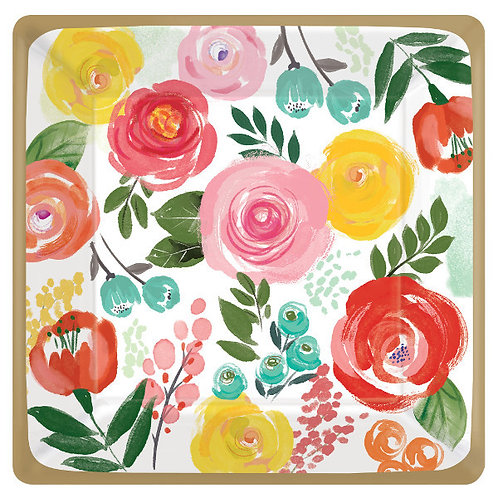 Bright Florals 10in Plates - 8ct