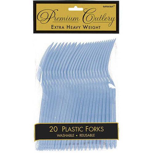 Light Blue Plastic Forks 20ct