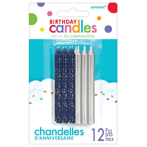 Glitter and Metallic Candles - Silver 12ct