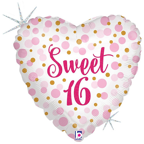 #354 Glitter Sweet 16 Holographic 18in Balloon