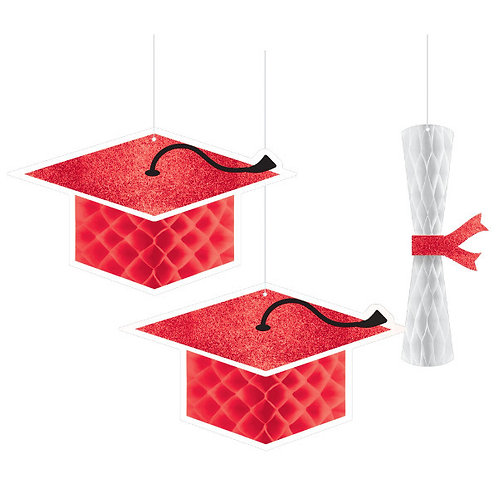 School Colors Honeycomb Hanging Decorations - Red
