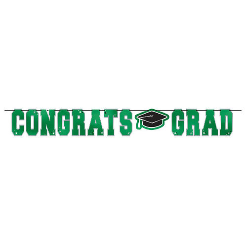 School Colors Large Foil Letter Banner - Green