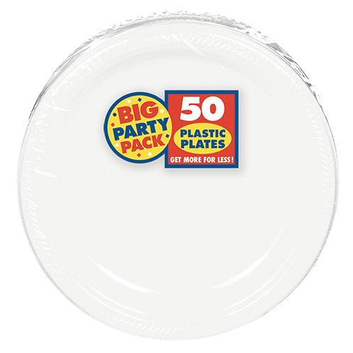 White 7in Plastic Plates 50ct