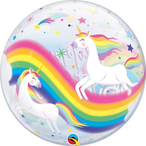 Rainbow Unicorns Bubble 22in Balloon