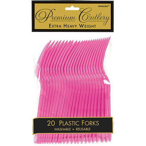 Bright Pink Plastic Forks 20ct