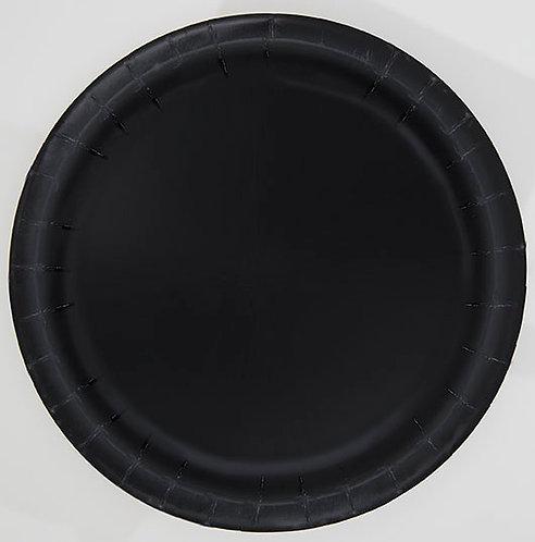 """Black Round 7"""" Dessert Plates 20ct"""