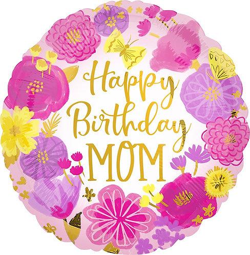 #347 Happy Birthday Mom 18in Balloon