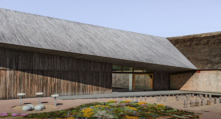 DE Houten Museum hoek hout met riet dak