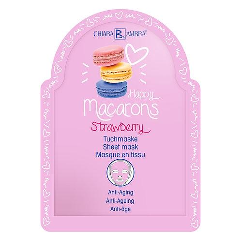 """CHIARA AMBRA® Anti-Aging Doek Masker """"Macarons-Strawberry"""""""