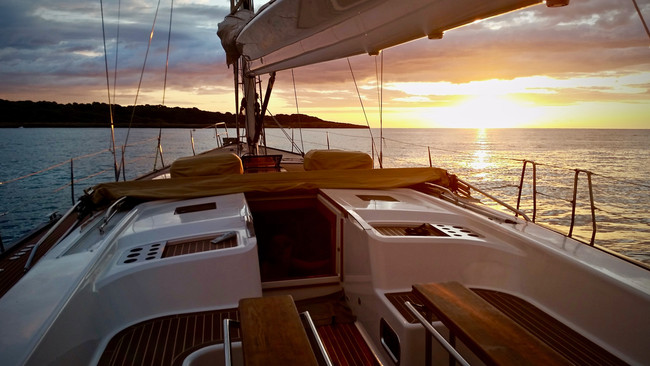 Sunset on board of Nereida Hanse 630e