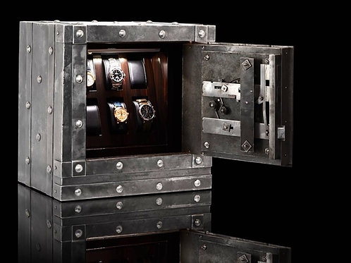 Antique Safe with 6 macassar watch holders