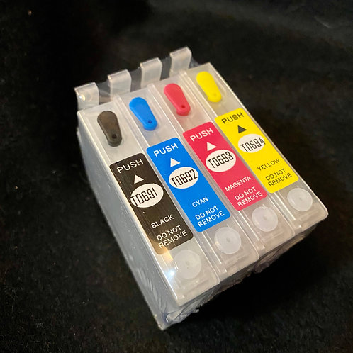 EPSON T069 Compatible 4-Color Refillable Cartridge Set w/ Auto Reset
