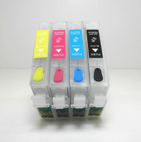 EPSON T125 Compatible 4-Color Refillable Cartridge Set w/ Auto Resetting Chip