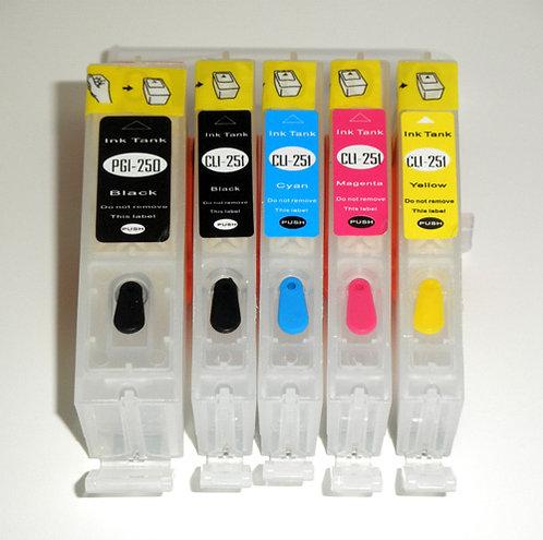 CANON PGI-250/CLI-251 Compatible Five-Color Refillable Cartridge Set