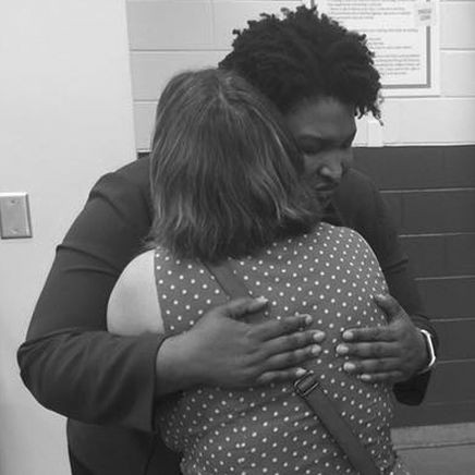 Hugging Stacey Abrams