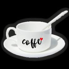 Кружка кофейная с блюдцем и ложкой с