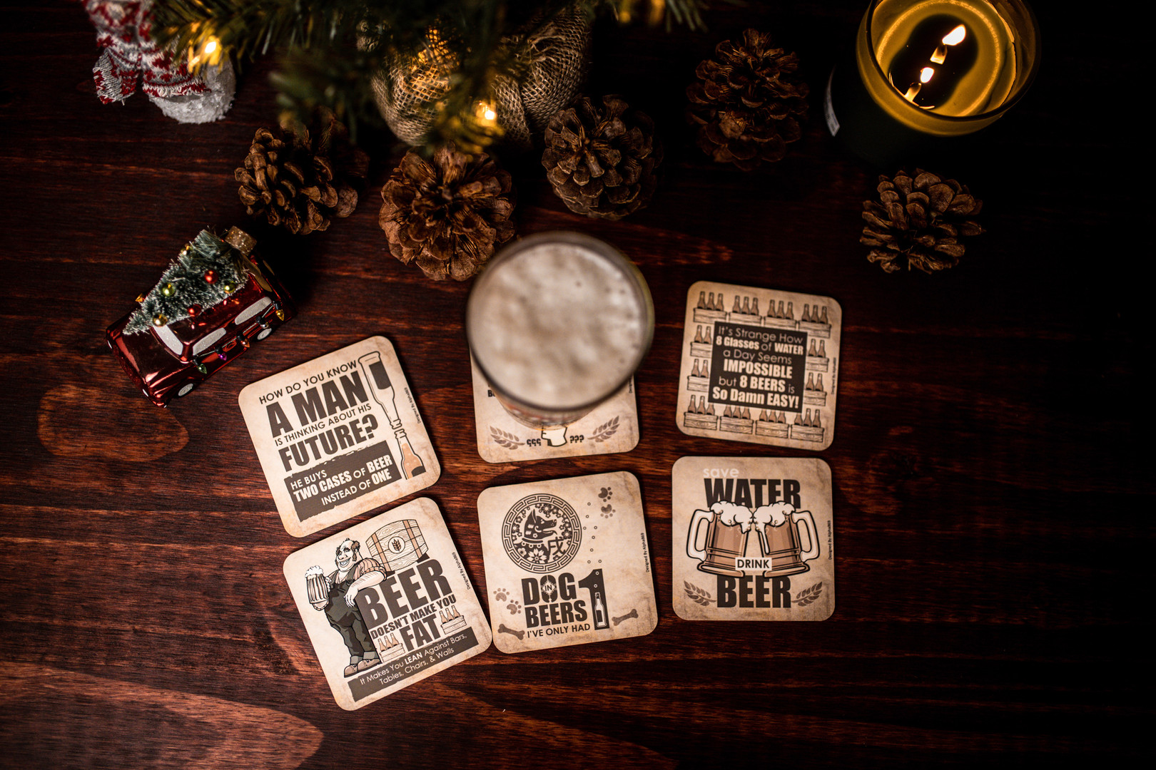 Set of Funny Beer Coasters