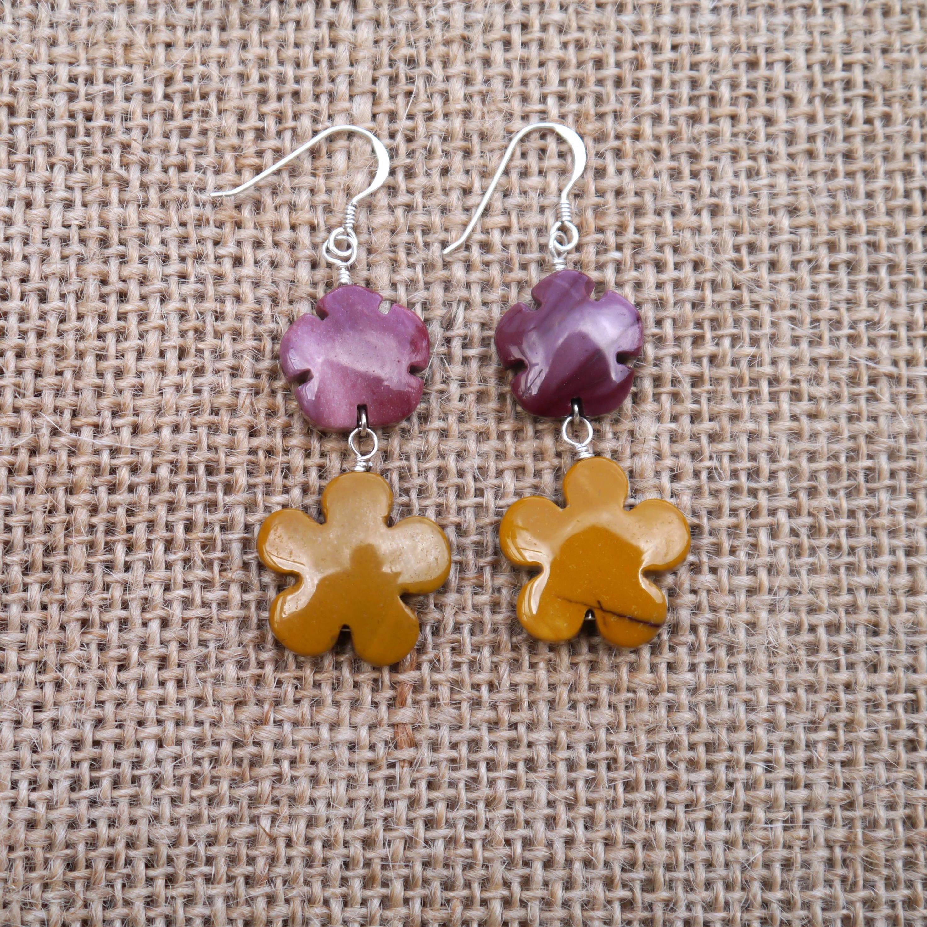 Mookite flower earrings
