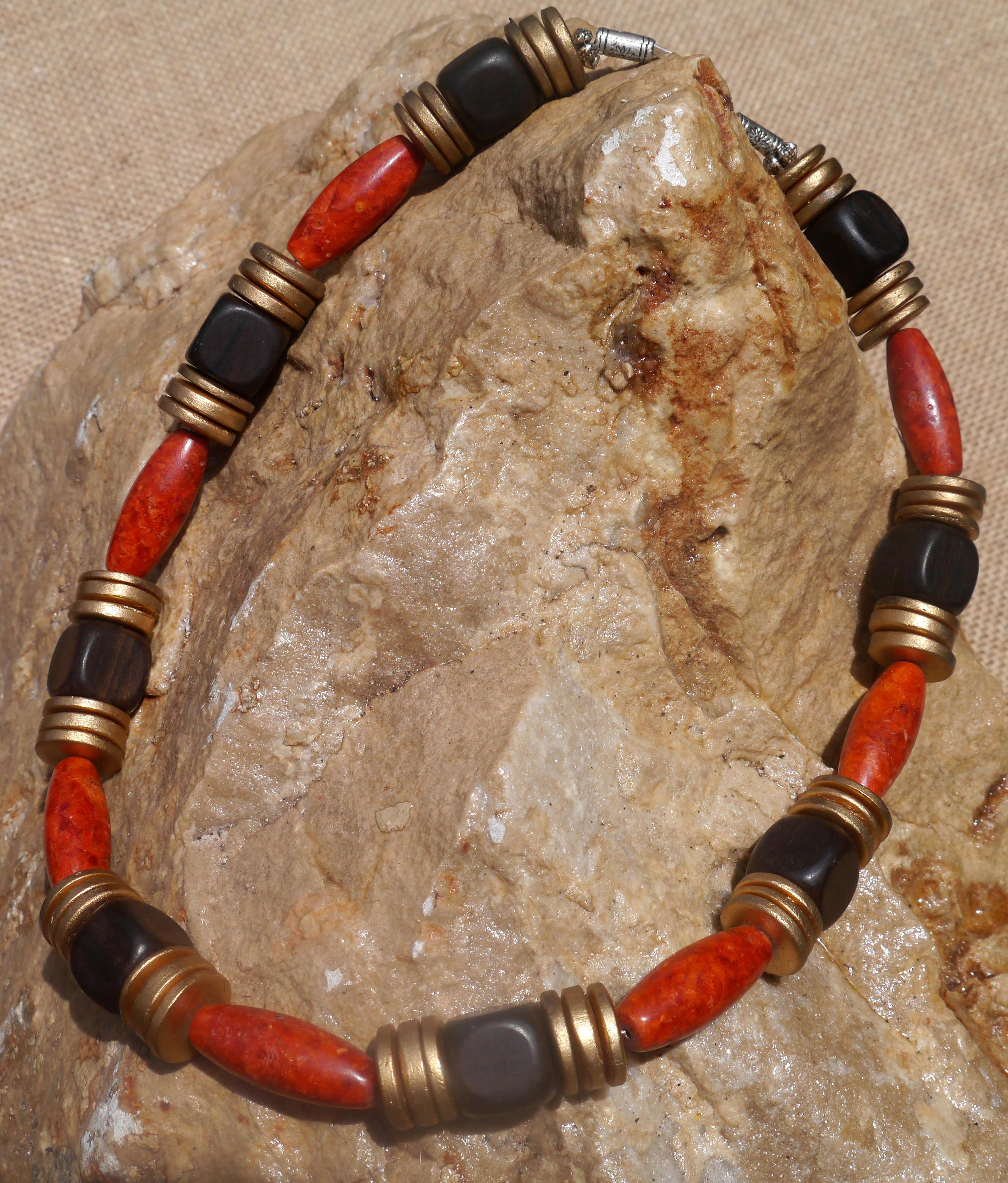 Jasper and Ebony Wood Necklace