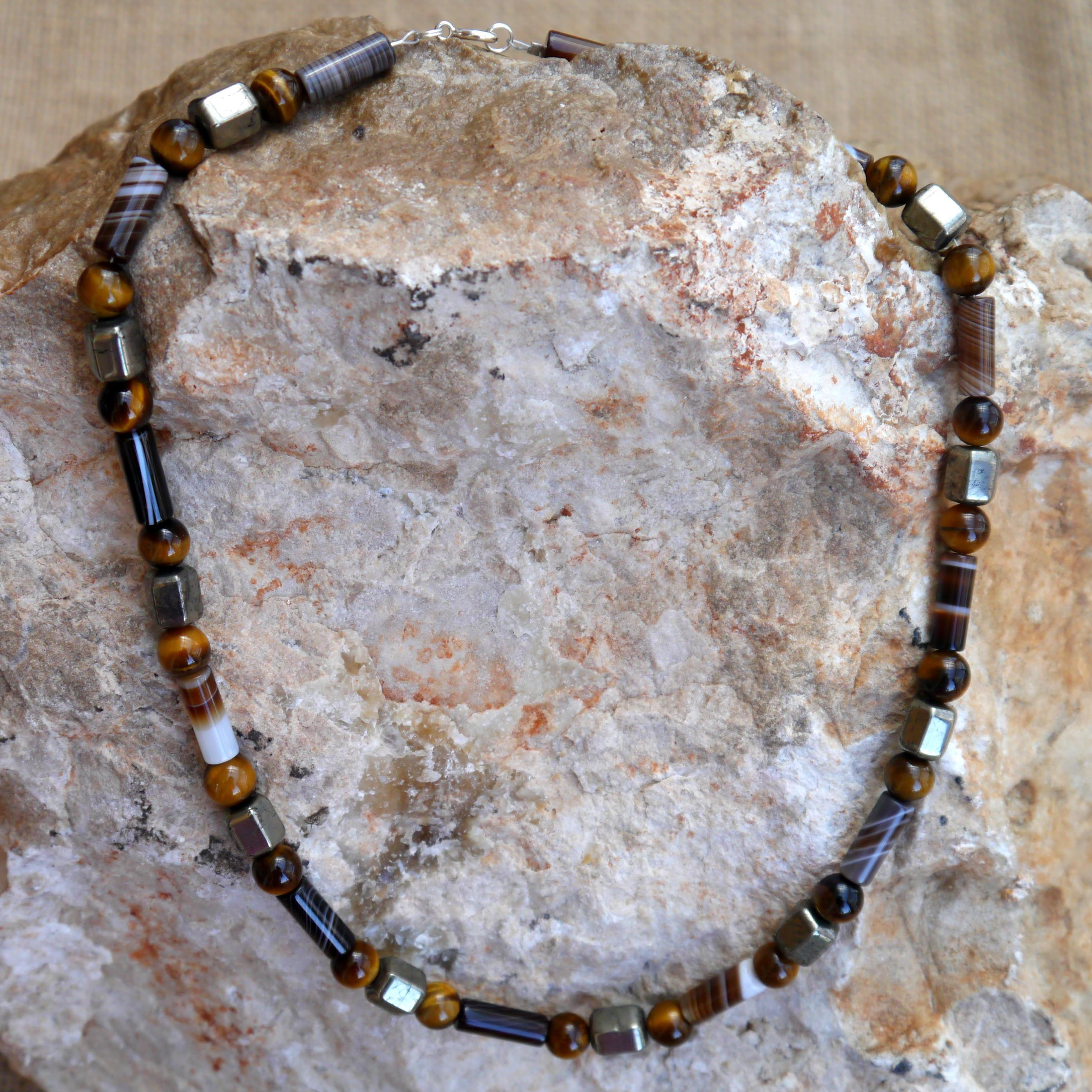 Pyrite, Tigers eye & Botswana Agate