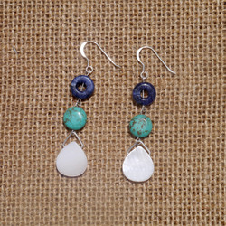 Sodalite, Turquoise and MOP Earrings