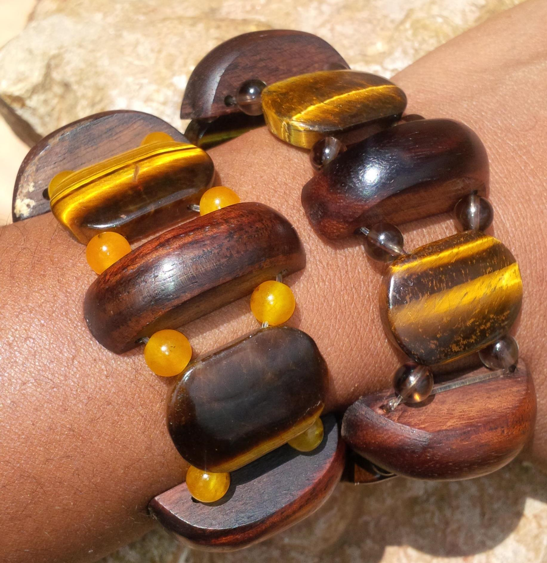 Wood Gem Stretch Bangle collection